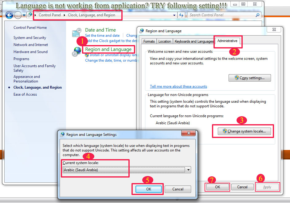 Regional and Language settings for Non Unicode applications Windows7